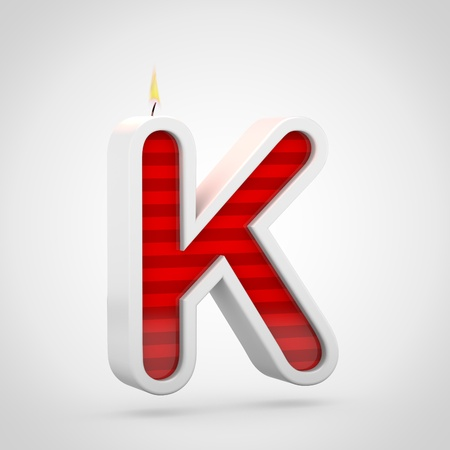 Birthday candle letter K uppercase. 3D render of red cake candle font with wick and flame isolated on white background.