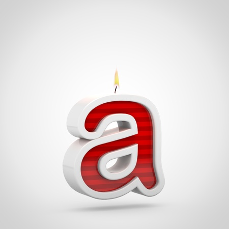 Birthday candle letter A lowercase. 3D render of red cake candle font with wick and flame isolated on white background. Stock Photo