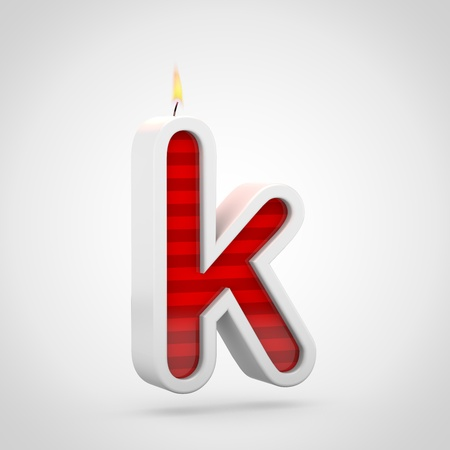 Birthday candle letter K lowercase. 3D render of red cake candle font with wick and flame isolated on white background.