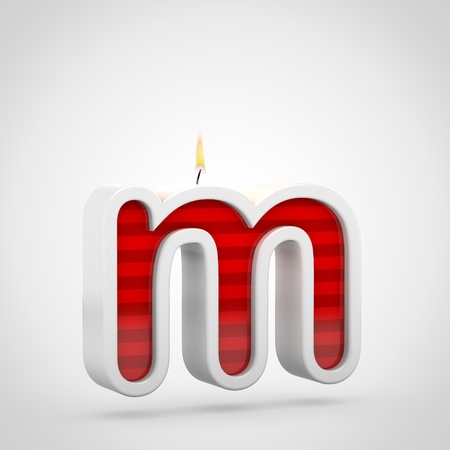 Birthday candle letter M lowercase. 3D render of red cake candle font with wick and flame isolated on white background.