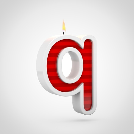 Birthday candle letter Q lowercase. 3D render of red cake candle font with wick and flame isolated on white background. Stock Photo