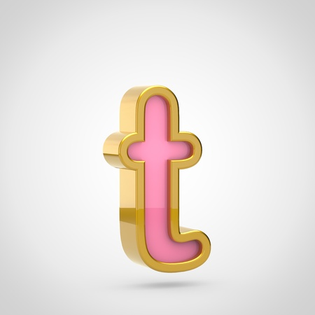 Pink letter T lowercase. 3D render of pink font with golden outline isolated on white background.