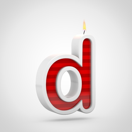 Birthday candle letter D lowercase. 3D render of red cake candle font with wick and flame isolated on white background.