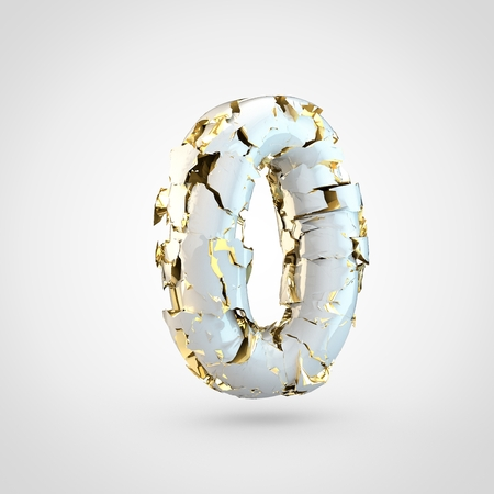 Cracked number 0. 3D render cracked white font with golden texture inside isolated on white background.
