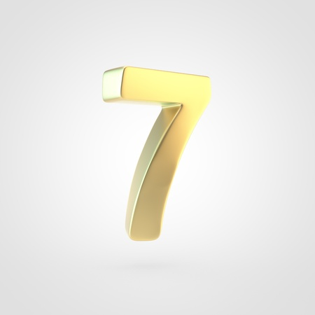 Golden number 7. 3D rendering of matted golden font isolated on white background. Stock Photo