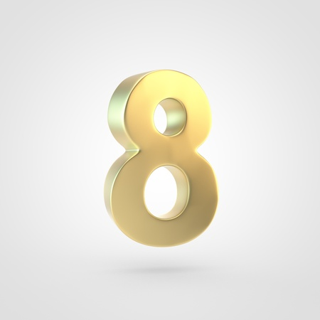 Golden number 8. 3D rendering of matted golden font isolated on white background. Stock Photo