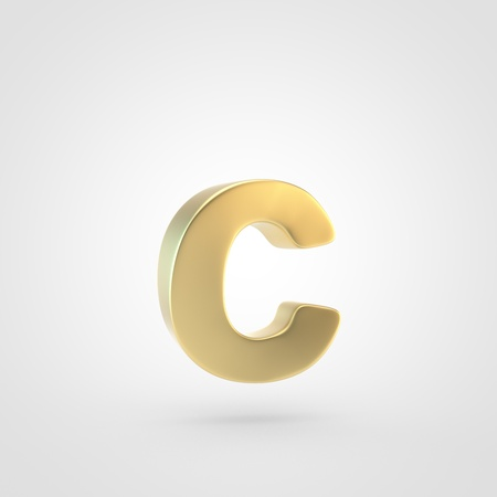 Golden letter C lowercase. 3D rendering of matted golden font isolated on white background.