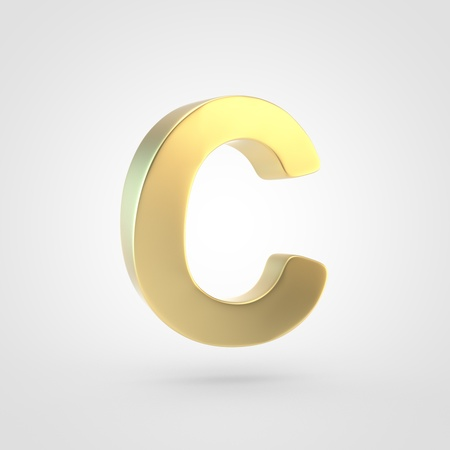 Golden letter C uppercase. 3D rendering of matted golden font isolated on white background. Reklamní fotografie