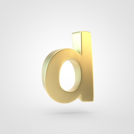 Golden letter D lowercase. 3D rendering of matted golden font isolated on white background.