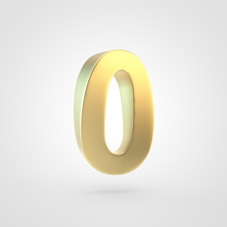 Golden number 0. 3D rendering of matted golden font isolated on white background. Stock Photo