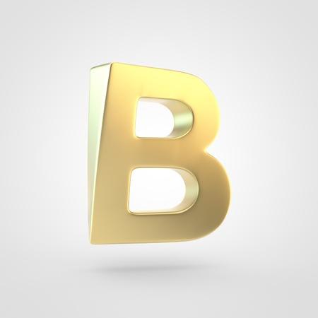 Golden letter B uppercase. 3D rendering of matted golden font isolated on white background.