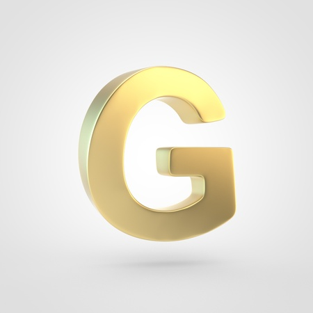 Golden letter G uppercase. 3D rendering of matted golden font isolated on white background.