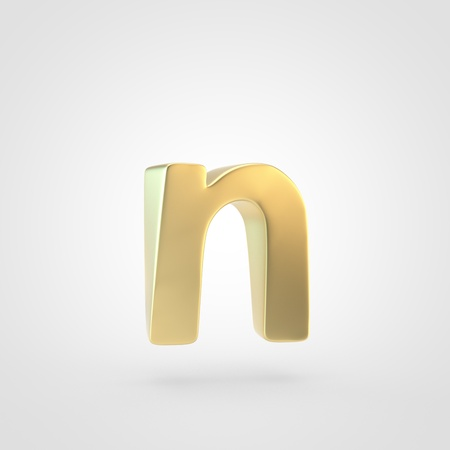Golden letter N lowercase. 3D rendering of matted golden font isolated on white background. Reklamní fotografie