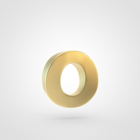 Golden letter O lowercase. 3D rendering of matted golden font isolated on white background.