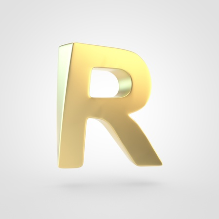 Golden letter R uppercase. 3D rendering of matted golden font isolated on white background. Stock Photo