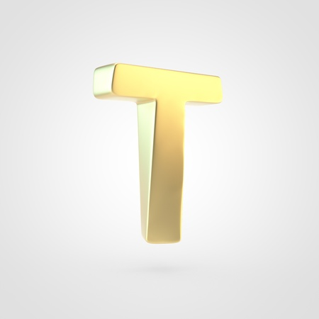 Golden letter T uppercase. 3D rendering of matted golden font isolated on white background.