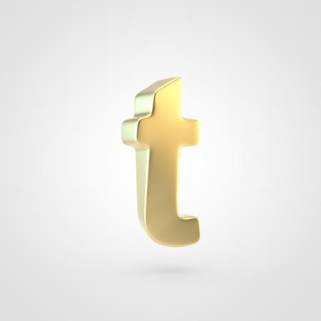 Golden letter T lowercase. 3D rendering of matted golden font isolated on white background. Reklamní fotografie