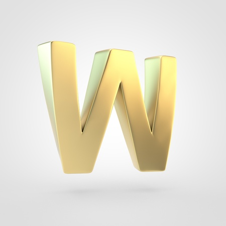 Golden letter W uppercase. 3D rendering of matted golden font isolated on white background. 写真素材