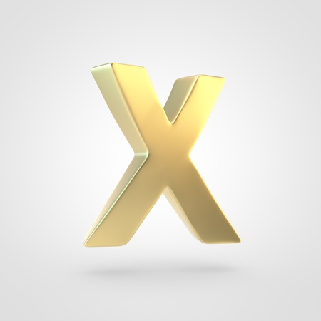 Golden letter X uppercase. 3D rendering of matted golden font isolated on white background. Stock Photo