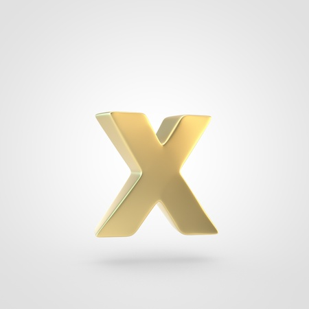 Golden letter X lowercase. 3D rendering of matted golden font isolated on white background.