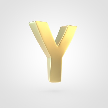 Golden letter Y uppercase. 3D rendering of matted golden font isolated on white background. Stock Photo