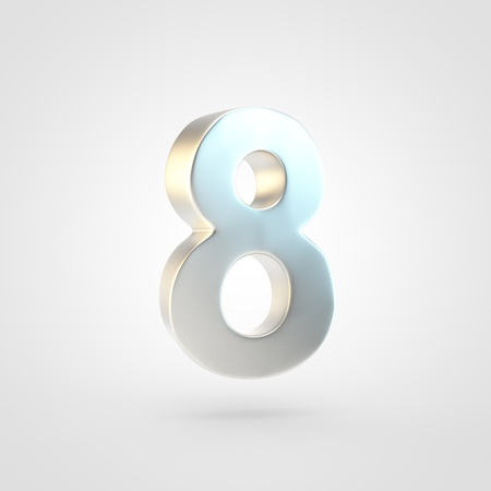 Silver number 8. 3D rendering of matted golden font isolated on white background.