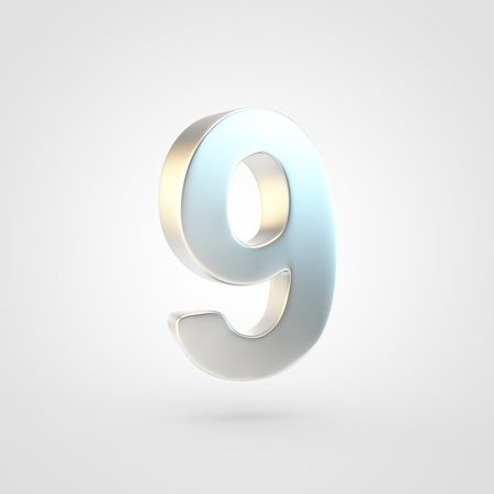Silver number 9. 3D rendering of matted golden font isolated on white background.