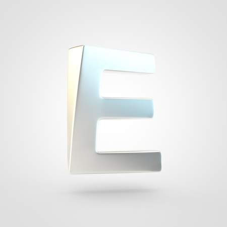 Silver letter E uppercase. 3D rendering of matted silver font isolated on white background.
