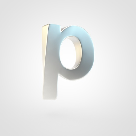 Silver letter P lowercase. 3D rendering of matted silver font isolated on white background. Reklamní fotografie