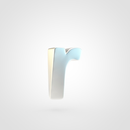 Silver letter R lowercase. 3D rendering of matted silver font isolated on white background.