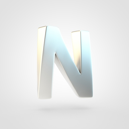 Silver letter N uppercase. 3D rendering of matted silver font isolated on white background. Reklamní fotografie