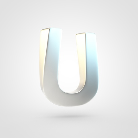Silver letter U uppercase. 3D rendering of matted silver font isolated on white background.