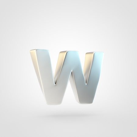 Silver letter W lowercase. 3D rendering of matted silver font isolated on white background.
