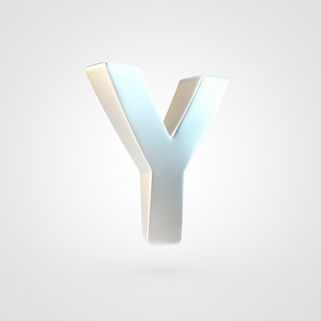 Silver letter Y uppercase. 3D rendering of matted silver font isolated on white background.