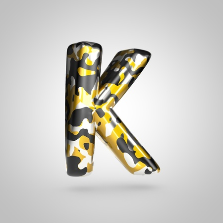 Camouflage letter K uppercase. 3D render font with golden, silver and black camouflage pattern isolated on white background.