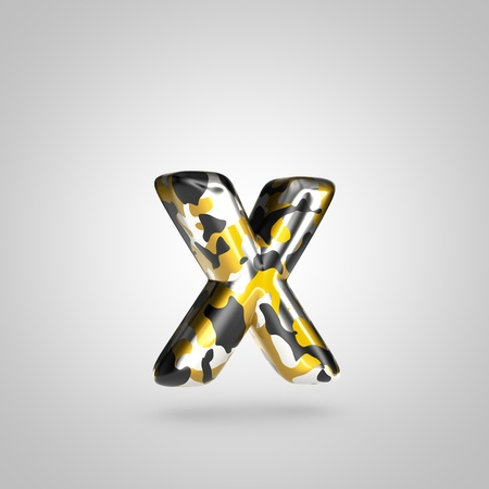 Camouflage letter X lowercase. 3D render font with golden, silver and black camouflage pattern isolated on white background.