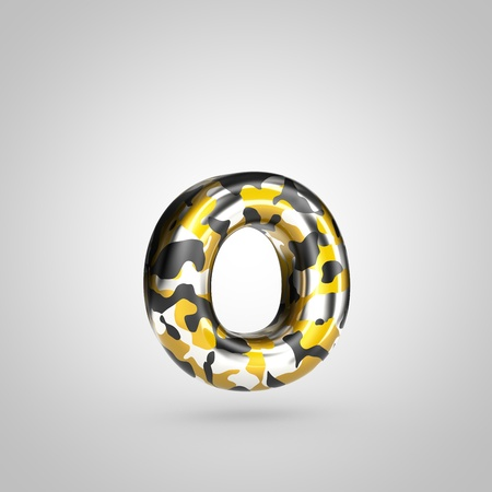Camouflage letter O lowercase. 3D render font with golden, silver and black camouflage pattern isolated on white background.