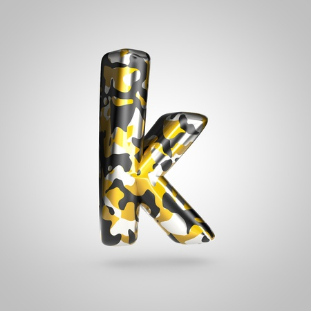 Camouflage letter K lowercase. 3D render font with golden, silver and black camouflage pattern isolated on white background.