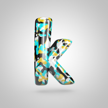 Camouflage letter K lowercase. 3D render font with cyan, black and yellow camouflage pattern isolated on white background.