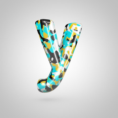 Camouflage letter Y lowercase. 3D render font with cyan, black and yellow camouflage pattern isolated on white background.
