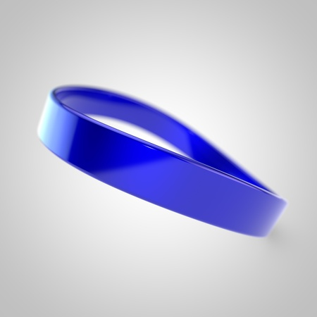 Blank promo bracelet. Blue silicone bracelet for hand isolated on white background
