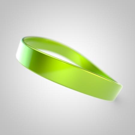 Blank promo bracelet. Lime silicone bracelet for hand isolated on white background Stock Photo