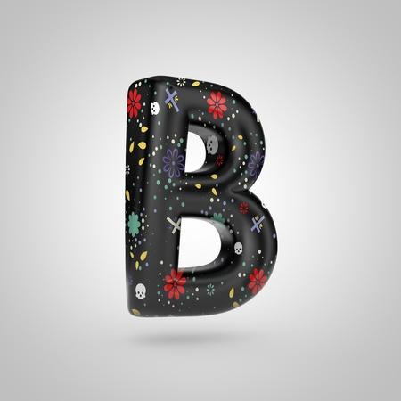 Santa Muerte letter B uppercase. 3D rendering of black font with flower, skull and cross pattern isolated on white background.