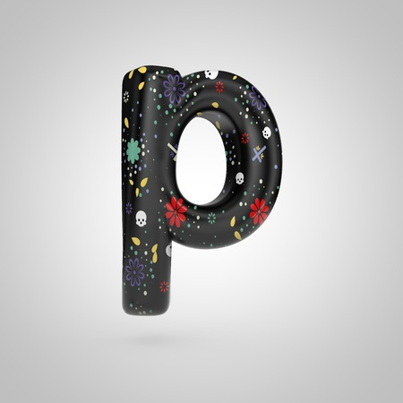 Santa Muerte letter P lowercase. 3D rendering of black font with flower, skull and cross pattern isolated on white background. Stock Photo
