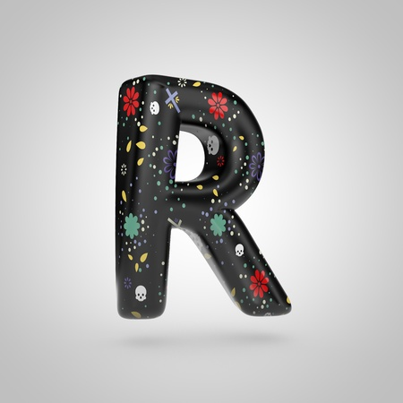 Santa Muerte letter R uppercase. 3D rendering of black font with flower, skull and cross pattern isolated on white background.