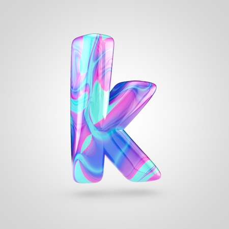 Glossy holographic letter K lowercase. 3D rendering font with violet, blue and pink color isolated on white background.
