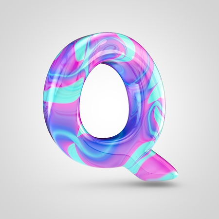 Glossy holographic letter Q uppercase. 3D rendering font with violet, blue and pink color isolated on white background.