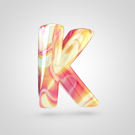 Glossy holographic letter K uppercase. 3D rendering font with orange, red and yellow color isolated on white background. Stock Photo