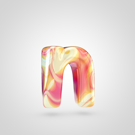Glossy holographic letter N lowercase. 3D rendering font with orange, red and yellow color isolated on white background.