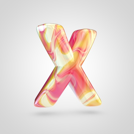 Glossy holographic letter X uppercase. 3D rendering font with orange, red and yellow color isolated on white background.
